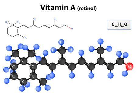 Vitamina A. La vitamina A modelo de molécula. estructura molecular de retinol Foto de archivo - 51867700